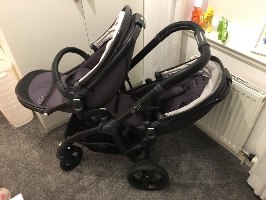 Egg Twin Stroller Pram With 2 X Car Seats And Isofix