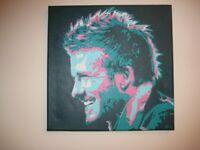 Nice Original Abstract Pop Art Painting Of David Beckham.
