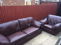 Excellent condition large 3 seater leather and chair