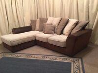 Corner Sofa - Modern Beige & Brown Settee