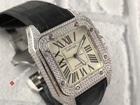 CARTIER SANTOS DIAMOND - SWISS 7750 ETA - BLACK LEATHER STRAP