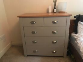 Oak and Grey Set - 2 Over 3 and 5 Drawer Chest