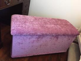 Pink Velvet Ottoman Chest Large Storage Box Kids