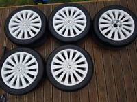 """5x17"""" vw passat alloys wheels 5x112 in prefect condition and very good tyres 235/45/17"""