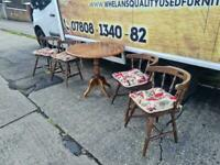 Round dark Oakwood dining table 4 chairs £85