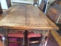 Solid Oak Refectory Table with 4 matching chairs, sideboard & side table with drawer c1930