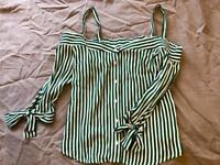 Bershka striped green off the shoulder top - new!