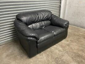 FREE DELIVERY BLACK LEATHER 2 SEATER SOFA GOOD CONDITION