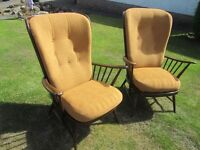 Ercol Tall Back Easy Arm Chairs (pair)