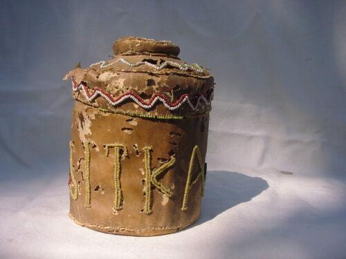 Sitka Alaska Hide-Bound Beaded Rattle Top Basket