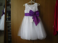 """New with tag Girls Chest 24"""" Length 29"""" White with Purple detail bridesmaids dress detail"""