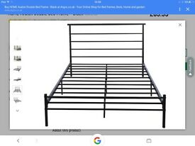 Black metal king size bed frame (mattress for extra £15)