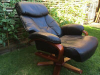 Real leather recliner armchair, vgc