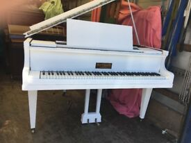 "metzler german 4ft 6"" baby grand painted white shabby chic £895 can deliver"