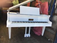 """metzler german 4ft 6"""" baby grand painted white shabby chic £895 can deliver"""