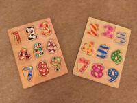 Two Wooden number puzzles