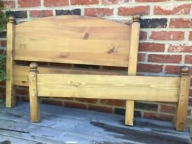 Pine bed. Headboard and base, plus side panels and base slats.