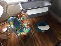 Chicco Next To Mr Crib, Fisher Price Rainforest Swing and Bumbo Seat