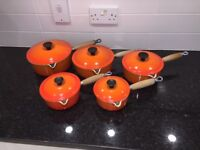 Set of 5 LE CREUSET Cast Iron Saucepans in Volcanic Orange
