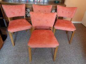 Set of 4,Vintage Mid Century Oak Dining Chairs