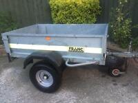 "5ft x 3ft 6"" franc tipping trailer + new spare wheel"