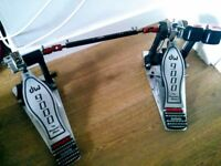 DW 9000 Double Bass Drum Pedal - good condition with case