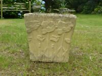Stylish Square Cast Stone Garden Planter with Poppy Detailing 24cm tall