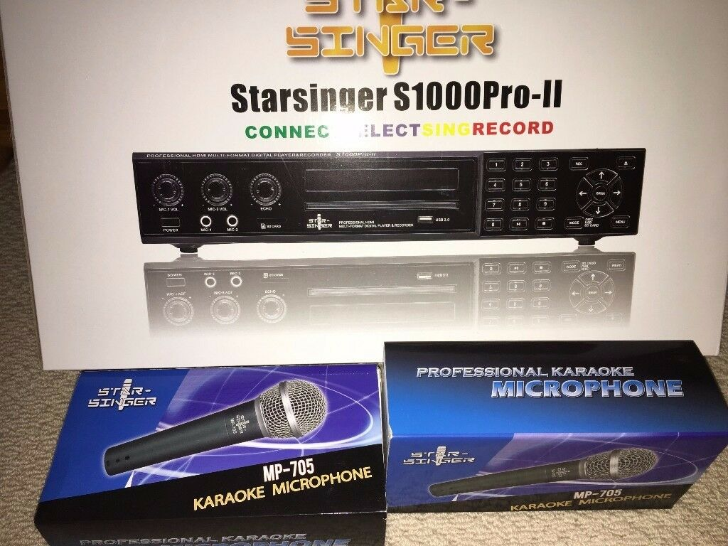 Karaoke Machine - Professional HDMI Multi-format Digital Play & Recorder with 2 Microphones & CDs