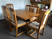 Quality oak dining table and 6 chairs