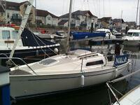 jaguar 21 sailing boat,lift keel on braked trailer