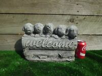 ��4 Garden Ornament - 5 Puppies Welcome Sign Concrete. Please see all photos..