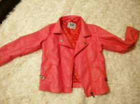 Faux leather girls biker jacket age 8-9 years