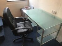GLASS OFFICE DESK & LEATHER EFFECT CHAIR