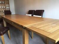 Oak extending dining table