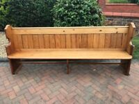 PITCH PINE CHURCH PEW. MONKS BENCH / SETTLE & CHAPEL CHAIRS ALSO AVAILABLE.