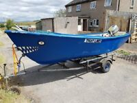 14ft Rowing boat with honda 8hp recently serviced outboard read to go NOW SOLD