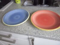 Rayware dinner plates, 14 blue, 6 pink, (yellow edging on both)