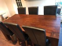 Madrid dark solid oak 8 seater dining table with chairs