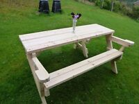 All in One Folding Garden Wooden Bench / picnic table