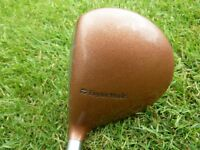 Taylor Made Burner 3 wood with historic bubble-shaft in good used condition with headcover. + balls