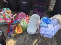 Baby joblot Mose basket,bath,Walker,seat and more