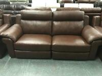 High retail antique brown leather electric reclining suite