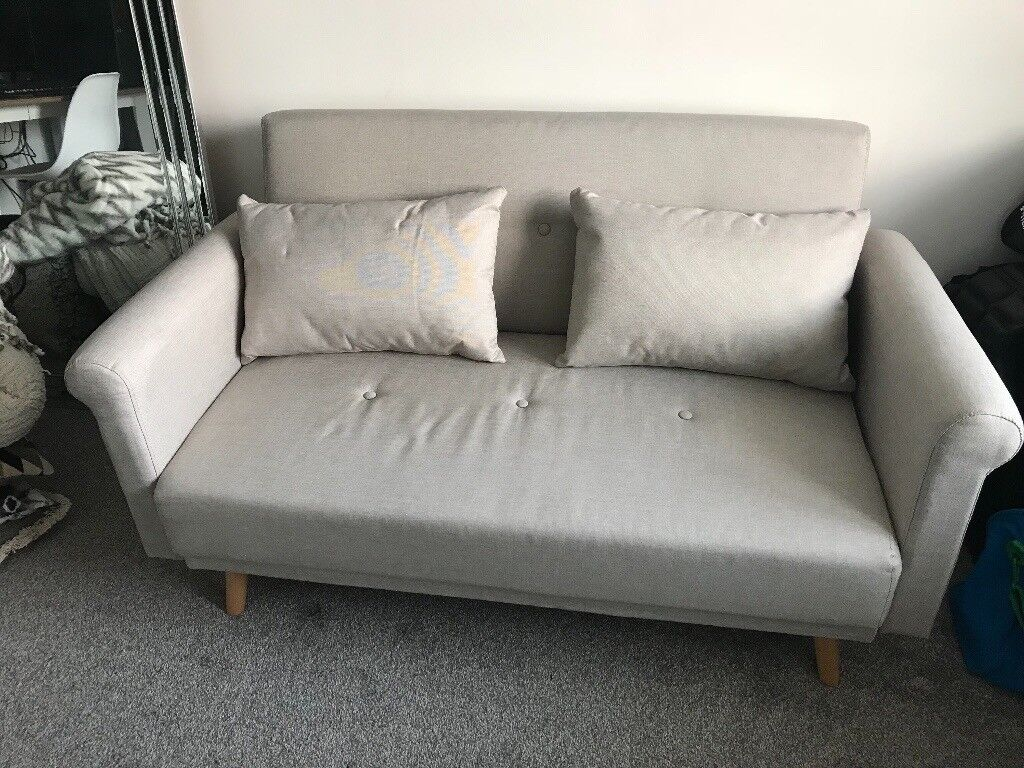 Hygena Evie 2 Seater Fabric Sofa In A Box Natural Small Self