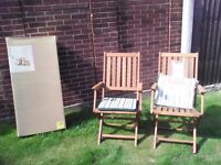Wooden garden dining chairs x 4