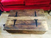 Original handmade solid wood storage coffee table trunk