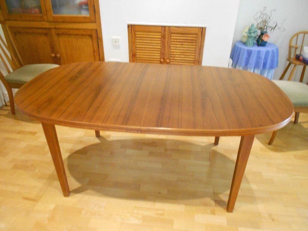 Teak veneer dining table for 6-10 people