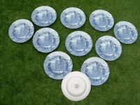 11 DINNER PLATES BY BURSLEY ENGLAND. 'THE POST HOUSE' PATTERN