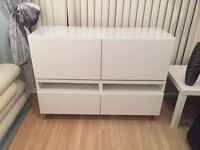 White ikea 2x tv unit or wall mounted drawer cabinets with top glass