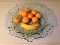 "Fruit bowl chunky bubble glass 14.5 "" inches x 14"" inches. Perfect condition as new."