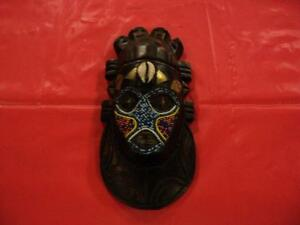 "VINTAGE African Mask Beaded Face HAND MADE in GHANA 10"" X 5"" Windsor Region Ontario image 2"